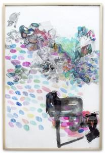 Dibujo. 95,5x150 cm. Técnicas: tinta, collage y cortes. Papel Zerkall. Madrid, diciembre 2012