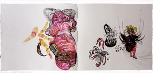 Libro de artista (detalle) Doble página. Técnicas: acuarela y tinta. Madrid, diciembre de 2012.
