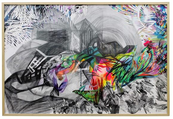 Dibujo. Acrílico, lapiz, acuarela y cortes. Papel Hahnemuhle. 150x95 cm