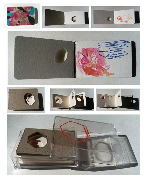 Diez libros de 4x6 cm/ud Técnica: tinta, acrílico, acuarela, cosidos, cortes y dibujo sobre papel Hahnemuehle, Magnani y cartón.